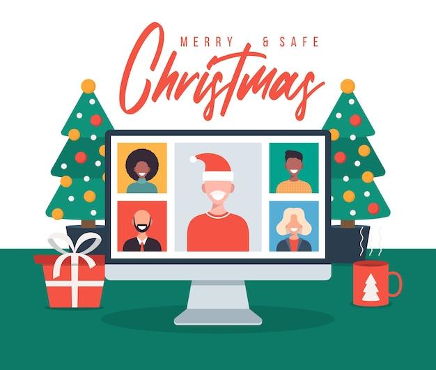 Kerst online groet mensen die online samenkomen