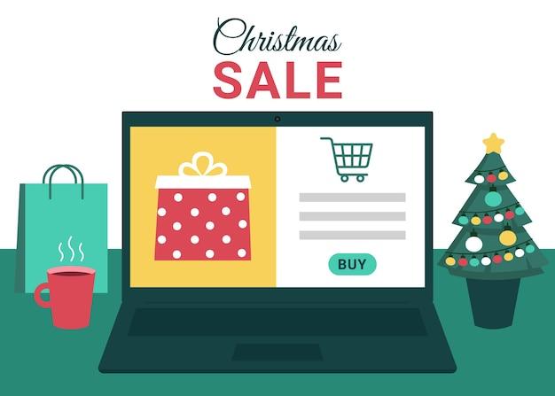 Kerst online winkelen, verkoop. laptopscherm met geschenkdozen.