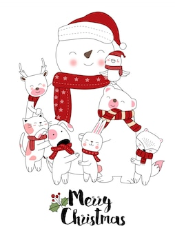 Kerst ontwerp met schattige dieren cartoon hand getrokken stijl
