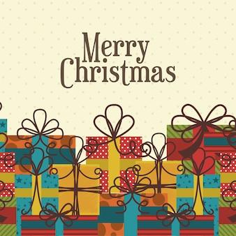 Kerst ontwerp over gestippelde achtergrond vectorillustratie