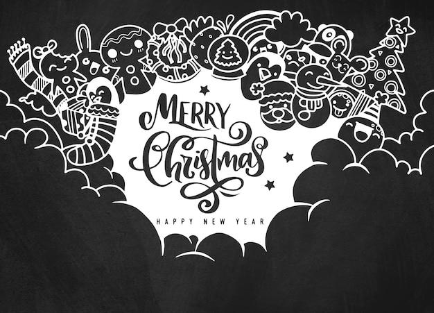 Kerst ontwerpelement in doodle stijl met kopie ruimte, prettige kerstdagen en gelukkig nieuwjaar