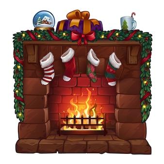 Kerst open haard geïsoleerd op wit. illustratie
