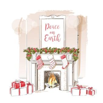 Kerst open haard illustratie