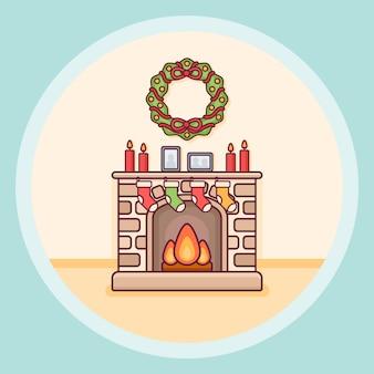 Kerst open haard met kaarsen, sokken en krans in platte lijnstijl.