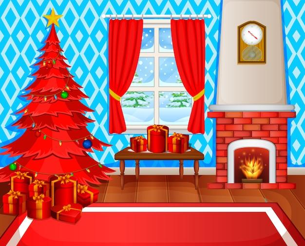 Kerst open haard met kerstboom presenteert