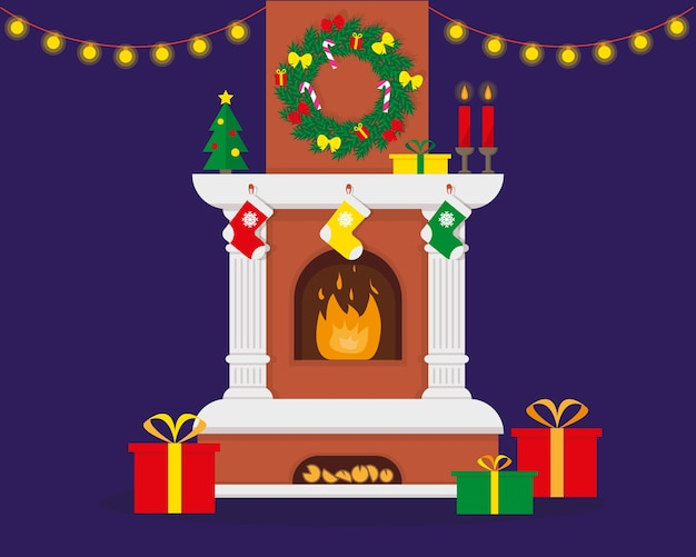 Kerst open haard met vlam ingericht voor kerstmis en nieuwjaar