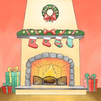 Kerst open haard scène concept in aquarel