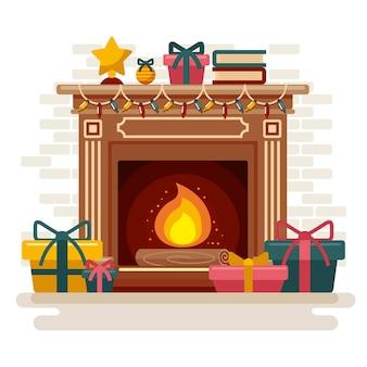 Kerst open haard scène in plat design