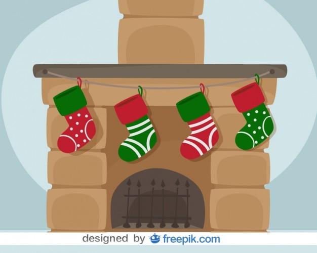 Kerst open haard vector kaart illustratie