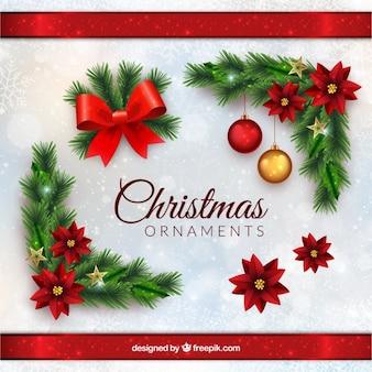 Kerst ornamenten in realistische stijl