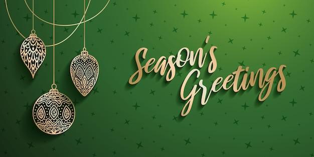 Kerst ornamenten met groeten van het seizoen tekst