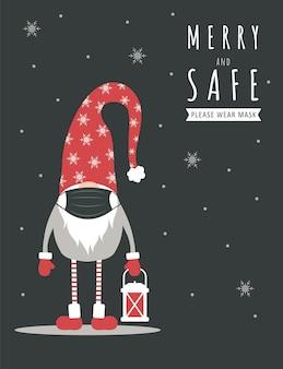 Kerst pandemie. leuke kabouter in medisch gezichtsmasker.