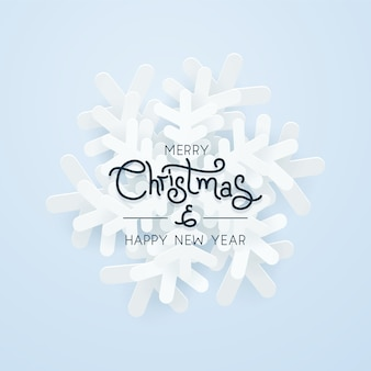Kerst papier sneeuwvlok over blauwe achtergrond
