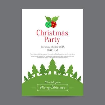 Kerst partij poster ontwerpsjabloon Premium Vector