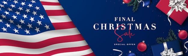 Kerst patriottische banner met vlag van de vs
