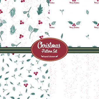 Kerst patronen instellen. hand getrokken doodles. bloemmotieven