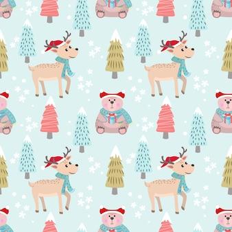 Kerst patroon achtergrond met beer en herten.