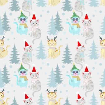 Kerst patroon achtergrond met schattige kat.