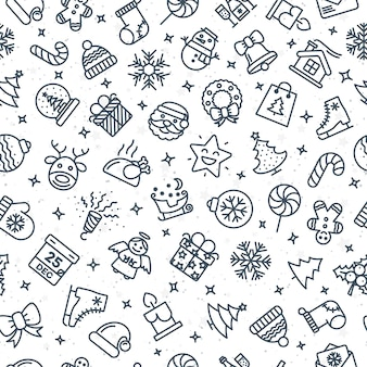 Kerst patroon bestaande uit kerst lijn iconen