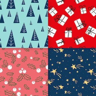 Kerst patroon collectie hand getrokken