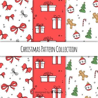 Kerst patroon collectie in de hand getrokken stijl