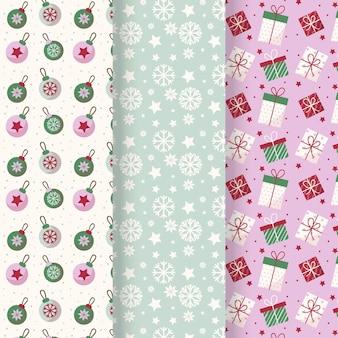 Kerst patroon collectie in plat design