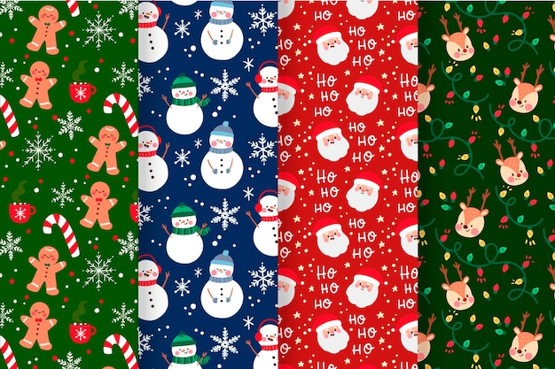 Kerst patroon collectie met peperkoek man en sneeuwpop
