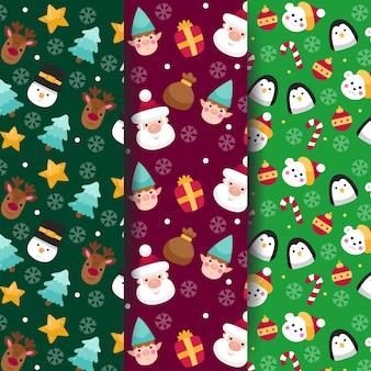 Kerst patroon collectie plat ontwerp