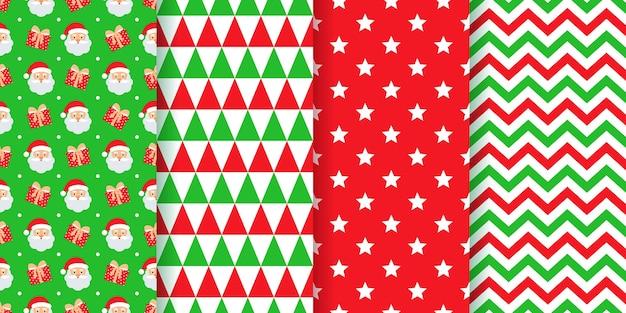 Kerst patroon. feestelijke nieuwjaar texturen geometrische prints instellen.