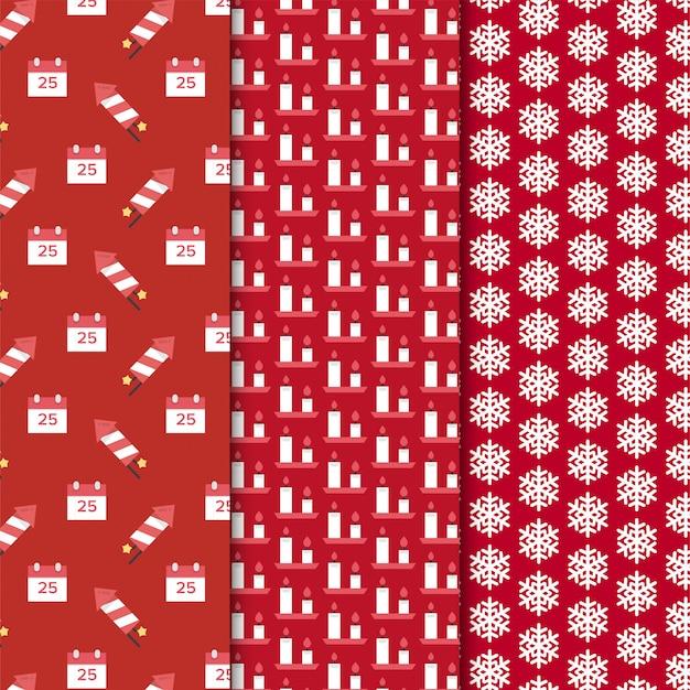 Kerst patroon ingesteld op rode achtergrond