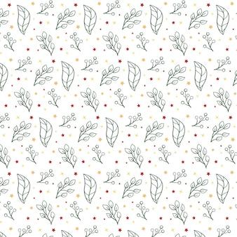 Kerst patroon met bladeren en sterren