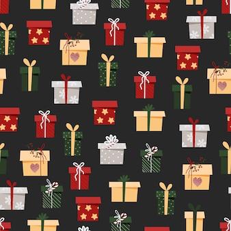 Kerst patroon met geschenkdozen voor inpakpapier