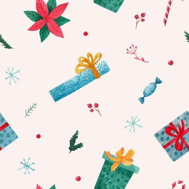 Kerst patroon met geschenken. waterverf