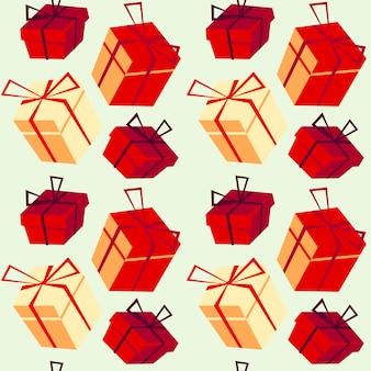 Kerst patroon met hand getrokken psent vakken