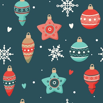 Kerst patroon met leuke decoraties