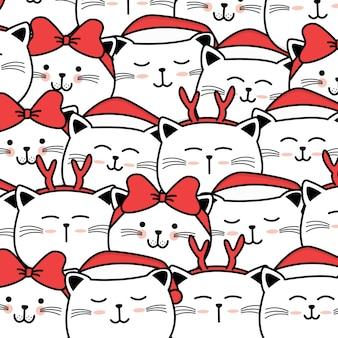 Kerst patroon met schattige kat cartoon hand getrokken stijl