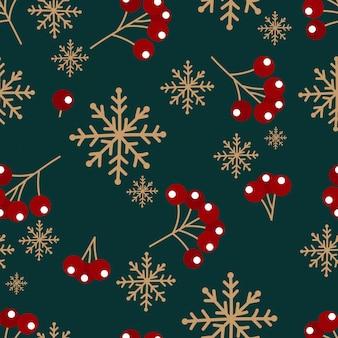 Kerst patroon met sneeuwvlokken en bessen