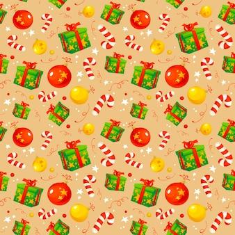 Kerst patroon met traditionele symbolen en geschenken, inpakpapier