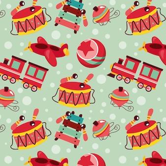 Kerst patroon naadloos met kerstmisspeelgoed