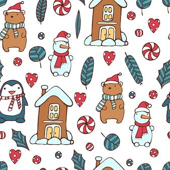 Kerst patroon, sneeuwpop, beer, pinguïn
