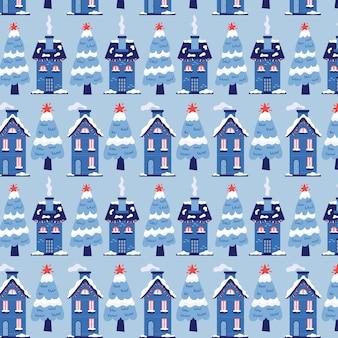 Kerst patroon winter huizen met sparren. kerst blauwe achtergrond voor cadeauverpakking. moderne platte vector naadloze illustratie