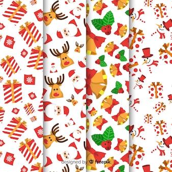 Kerst patrooncollectie met platte ontwerp