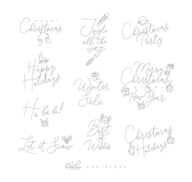 Kerst pen lijn belettering voor wintervakanties tekenen op witte achtergrond