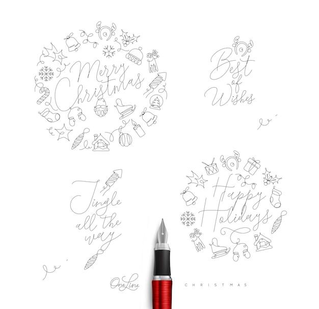 Kerst pen lijn monogrammen met letters voor wintervakantie