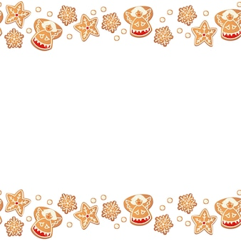 Kerst peperkoek cookies naadloze grens geïsoleerd. nieuwjaar decoratieve slinger. cartoon hand getekende vectorillustratie