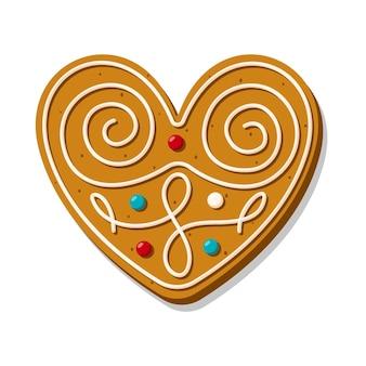 Kerst peperkoek hart is sierlijk versierd met glazuur. feestelijke koekjes in de vorm van een hart. romantische vectorillustraties voor valentijnsdag, bruiloft, koken, romantiek, liefde, enz.