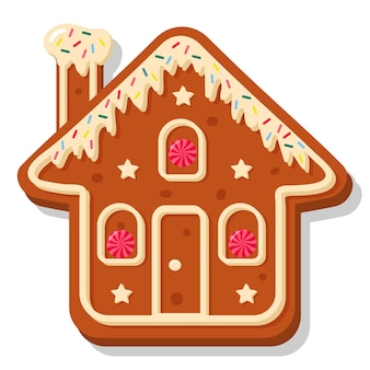 Kerst peperkoek huis. zoete zelfgemaakte geglazuurde biscuit.