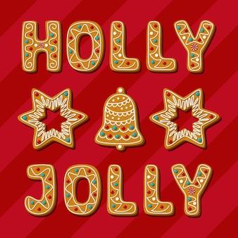 Kerst peperkoek hulst vrolijke zin ster bel zelfgemaakte koekjes