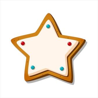 Kerst peperkoek koekje winter geglazuurd zoet in de vorm van ster isolaat vector illustratie