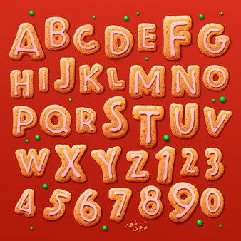Kerst peperkoek koekjes alfabet en cijfers vector illustratie